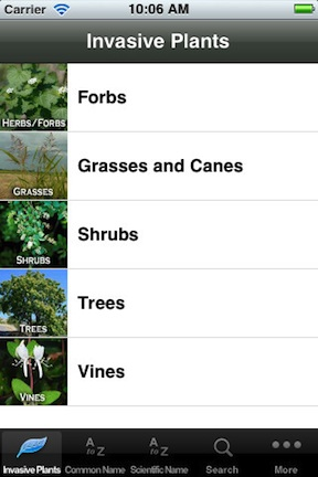 Invasive Plants App Screen @ National Park Service