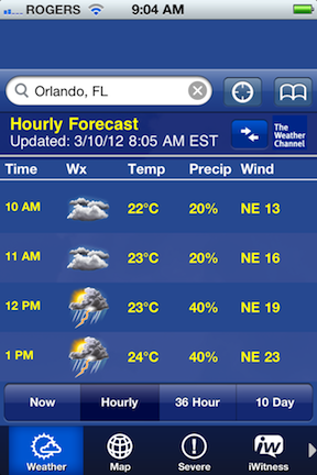 Weather Channel App &#169 HolidayTripper.com