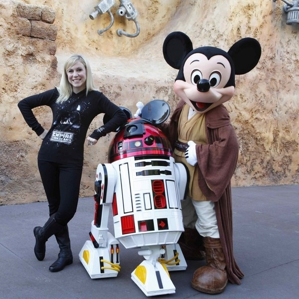 Ashley Eckstein with R2D2 and Mickey @ Matt Stroshane