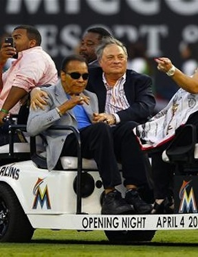 Muhammed Ali with Marlins owner Jeffery Loria @Mike Ehmann