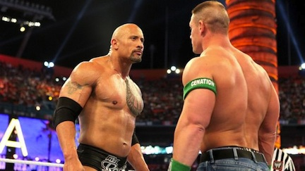The Rock and John Cena at Wrestlemania 28 &#169 WWE