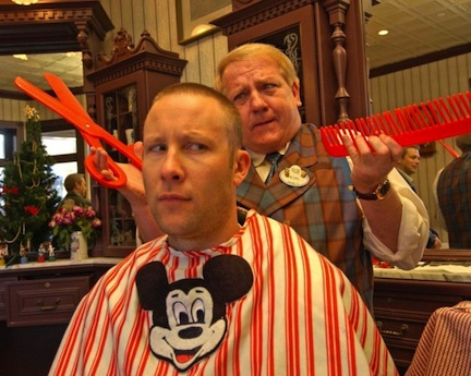 Michael Rosenbaum gets a haircut at Harmony Barber Shop (credit: The Walt Disney Company)