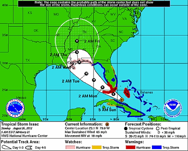 Storm Center for Isaac (credit: National Hurricane Center)
