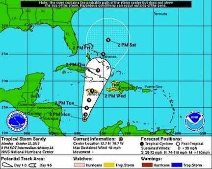 Tropical Storm Sandy (credit: National Hurricane Center)
